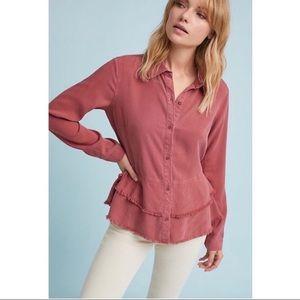 Anthropologie layered Frayed hem blouse